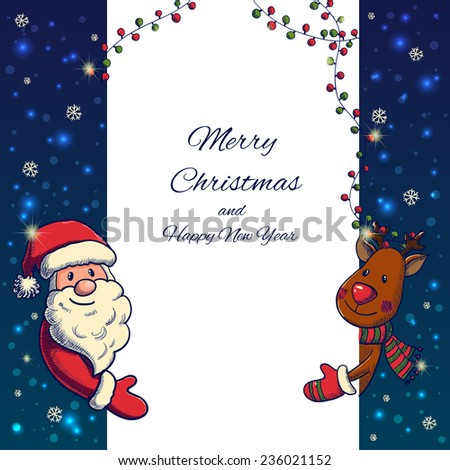 Hand drawn Santa Claus and Deer holding banner. Vector illustration - stock vector