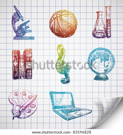 Hand-drawn school icons on lined sketchbook paper. Vector Illustration. - stock vector