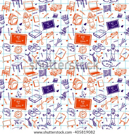 hand drawn school object seamless pattern. back to school concept design