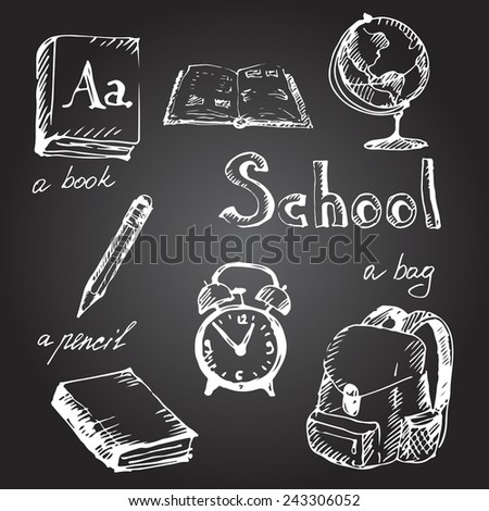 Hand drawn school object set.Chalk on a blackboard. Vector illustration. - stock vector