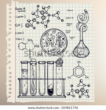 Hand drawn science beautiful laboratory icons sketch. . Vector illustration.Back to School. Science lab objects doodle style sketch, Laboratory equipment. Note book page paper. - stock vector