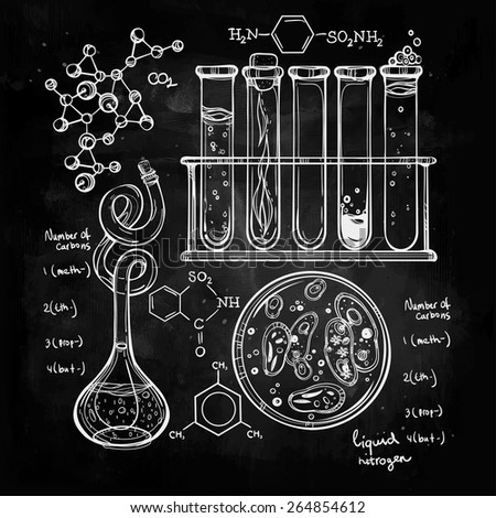 Hand drawn science laboratory icons sketch. Chalk on a blackboard. Vector illustration.Back to School. Science lab objects doodle style sketch, Laboratory equipment. - stock vector