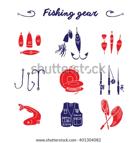 Hand drawn scribble icon set. Fishing gear collection. Isolated red and blue fishing signs kit. - stock vector