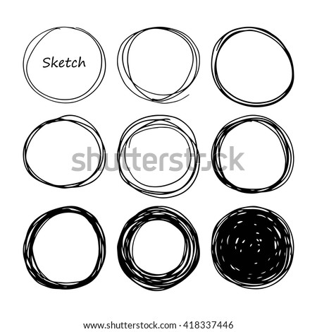 Hand drawn scribble, set of doodle circles, isolated on white background. Vector texture illustration. Logo design elements. Abstract geometric backdrop. - stock vector