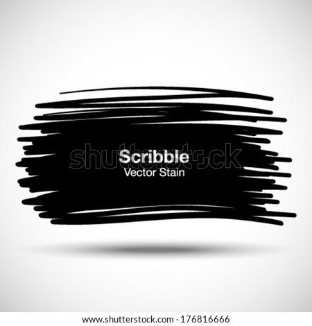 Hand Drawn Scribble Shape, vector design element - stock vector