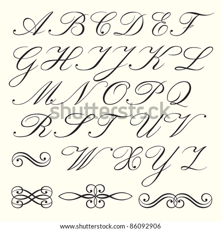 Hand drawn script alphabet with calligraphic elements - stock vector