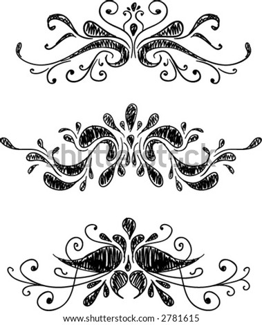 Hand drawn scrolls (ALL VECTOR) - stock vector