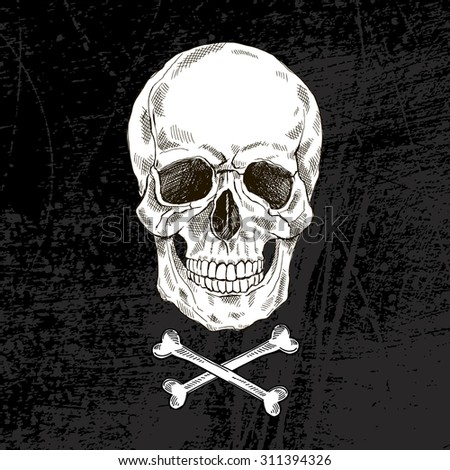 hand drawn scull with crossbones isolated on black - stock vector