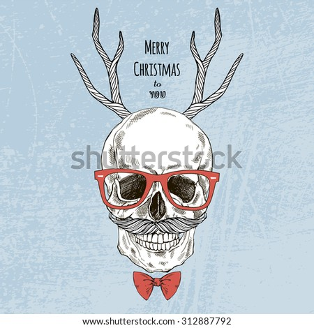 hand drawn scull with deer horns and tie bow, hipster style, Merry Christmas design - stock vector