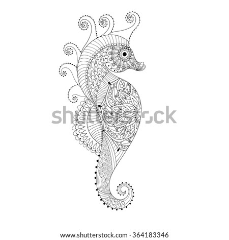 Hand drawn Sea Horse for adult coloring pages in doodle, zentangle tribal style,  Mehndi ethnic ornamental tattoo, artistic henna patterned prints. Sea animal vector illustration for coloring book - stock vector