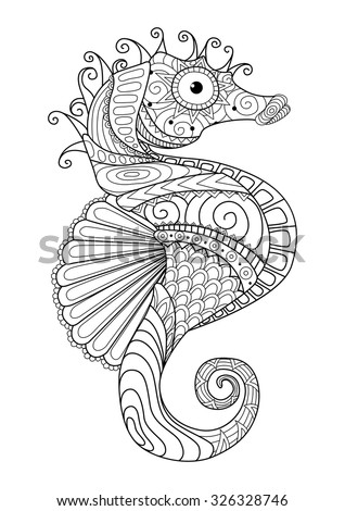 Hand drawn sea horse zentangle style for coloring page,t shirt design effect,logo tattoo and so on. - stock vector
