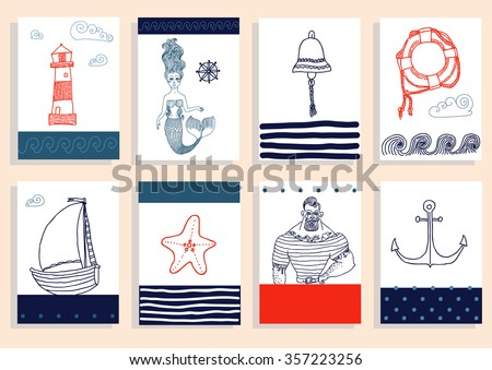 Hand drawn sea icons cartoon set with sailor, lighthouse, mermaid, ship and other. - stock vector