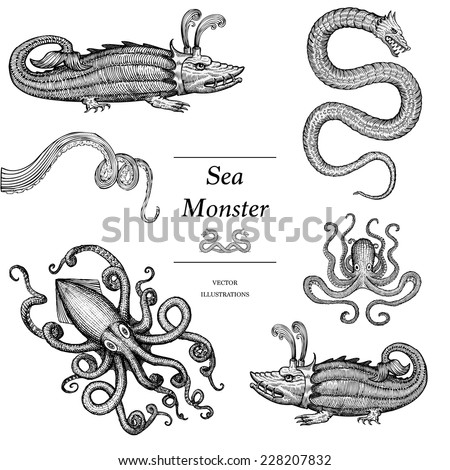Hand Drawn Sea Monsters  - stock vector