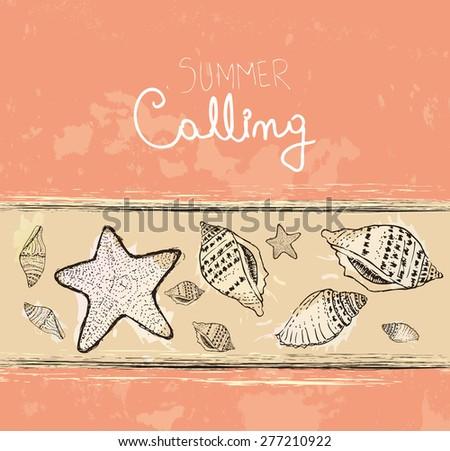 Hand drawn sea shells. Vintage summer background - stock vector