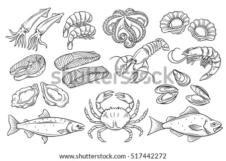 Hand drawn Seafood set. Decorative icons Squid, Octopus, salmon, oysters, scallops, lobster, red perch ,crab, shellfish and mussels. Vector illustration in old ink style