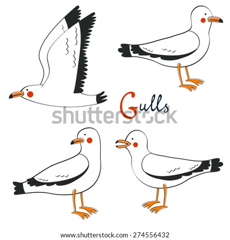 Hand drawn seagulls collection. - stock vector