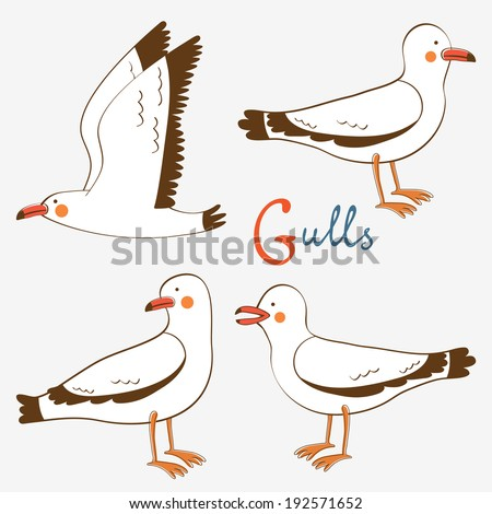 Hand drawn seagulls collection. Vector illustration - stock vector