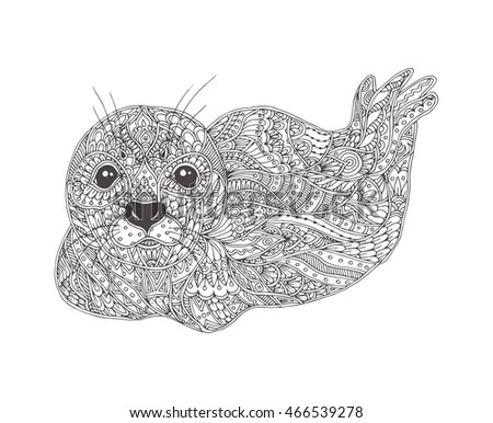 Hand Drawn Seal With Ethnic Floral Doodle Pattern Coloring Page