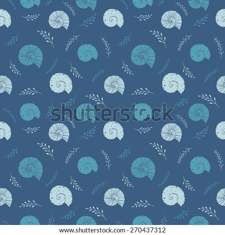 Hand drawn seamless background with silhouettes of sea shells. Vector sketch illustrations