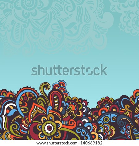 Hand drawn seamless border in oriental style - stock vector