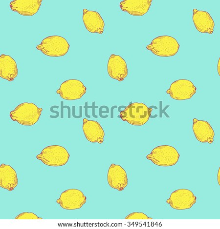 Hand drawn seamless bright lemon pattern in vector - stock vector