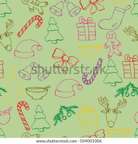Hand drawn seamless christmas background. Color objects drawing. Design illustration for poster, flyer . EPS pattern