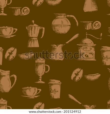 Hand drawn seamless coffee background  in dark shades - stock vector