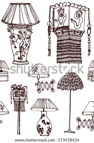 Hand drawn seamless colorful pattern with set of old vintage china table lamps with shade, traditional elements. Hand drawn design of postcard , textile, notebook, book, wallpaper. - stock vector