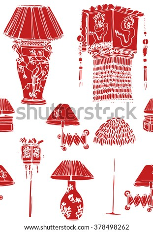 Hand drawn seamless colorful pattern with set of old vintage red china table lamps with shade, traditional elements. Hand drawn design of postcard , textile, notebook, book, wallpaper. - stock vector