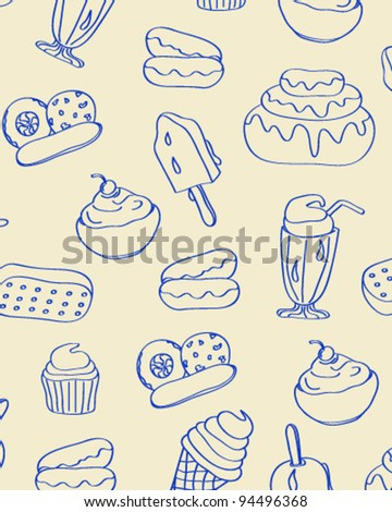 Hand Drawn Seamless Dessert Icons      changeable background    vector eps10 - stock vector