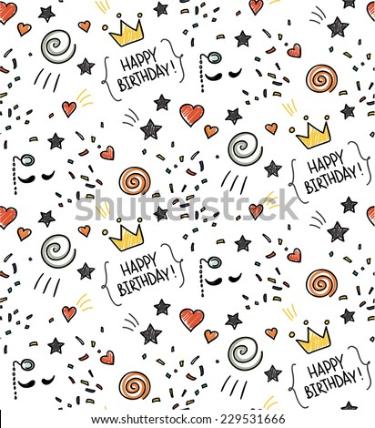 Hand drawn seamless doodle pattern, birthday theme - stock vector