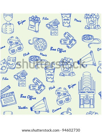 Hand Drawn Seamless Movies Icons      changeable background    vector eps10 - stock vector