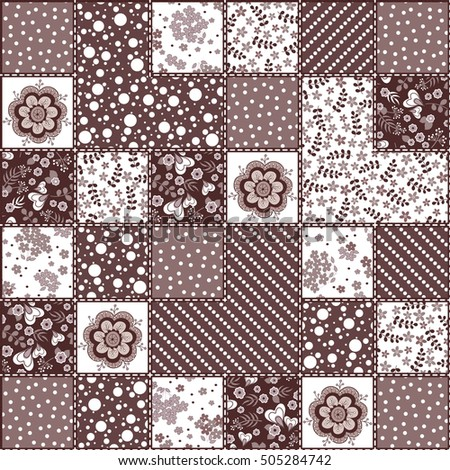 Hand drawn seamless patchwork pattern. Vintage boho style with decorative elements. Perfect for printing on fabric or paper.