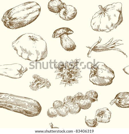 hand drawn seamless pattern - stock vector