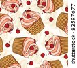 Hand drawn seamless pattern cupcakes. Eps 8, CMYK with global colors vector illustration. - stock vector