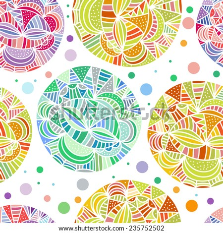 Hand drawn seamless pattern. Doodle circle texture  in pastel colors. Abstract vector seamless - stock vector