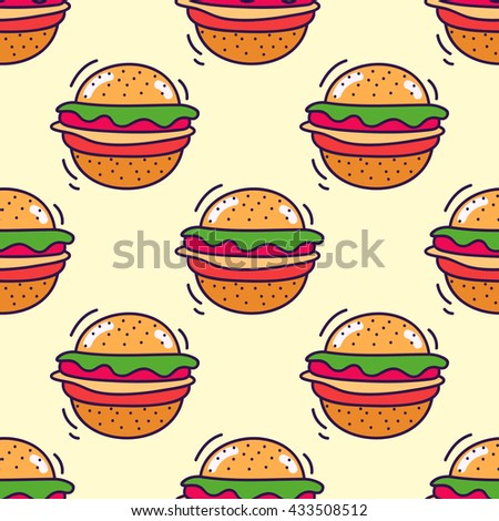 Hand drawn seamless pattern of fast food with hamburger. Cartoon multicolor background.