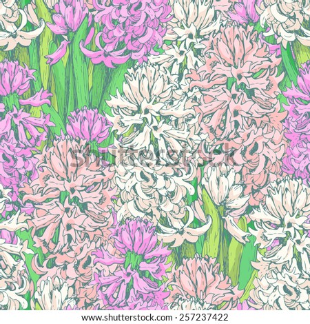Hand drawn seamless pattern of hyacinths. Vector vintage graphic. Spring floral background in pastel tone for your design (packaging paper, fabric, invitation, other).  - stock vector