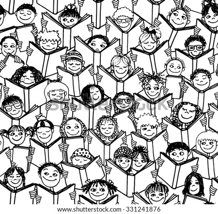 Hand drawn seamless pattern of kids reading books - black and white illustration - stock vector