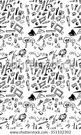 Hand drawn seamless pattern of tools sign and symbol doodles