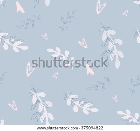 Hand drawn seamless pattern. Repetition background for textiles, packing, wrapping paper or wallpapers. Isolated vector illustration. Gray wallpaper. Wallpaper foliage. Foliage pattern. Foliage print. - stock vector