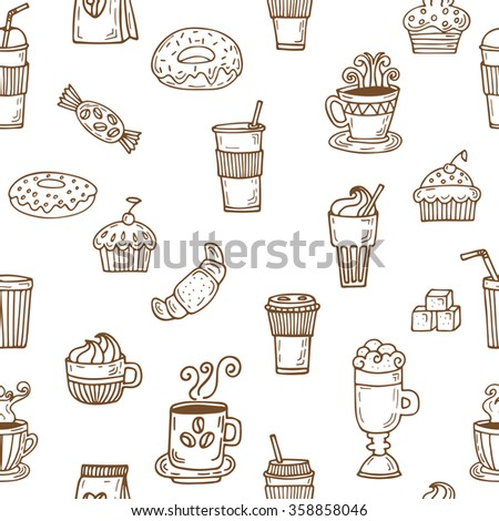 Hand drawn seamless pattern with coffee cups, coffee beans, cookies and cupcakes. Vector illustration