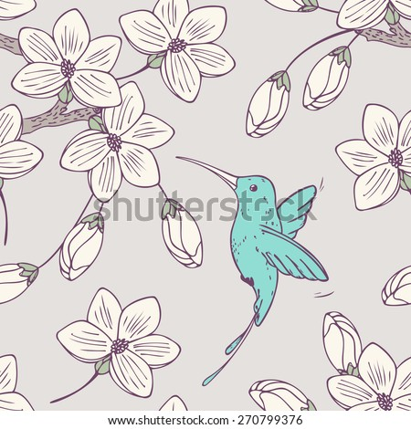 Hand drawn seamless pattern with colibri bird and flowers in vector. Doodle style floral illustration with hummingbird - stock vector
