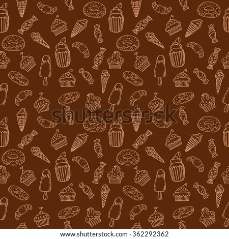 Hand drawn seamless pattern with cupcakes, sweets, bakery and desserts. Sweet desserts background. Vector illustration