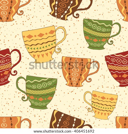 Hand drawn seamless pattern with cute colorful cups. Bright decorative background for tea or coffee time. Cute mugs for wrap. Kitchen retro decor. - stock vector