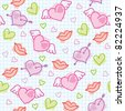 hand drawn seamless pattern with cute hearts - stock vector