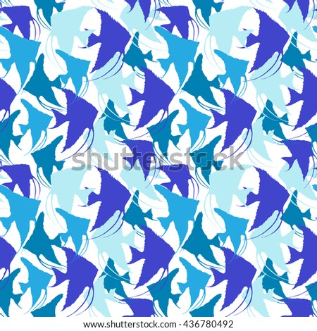 hand drawn seamless pattern with  fish. vector pattern with  silhouettes of angelfish  different shapes, colors and sizes.  Endless background.Blue Vector Seamless pattern with scalar silhouettes. - stock vector