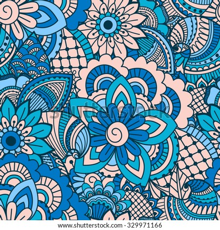 Hand drawn seamless pattern with floral elements. Colorful ethnic background. Pattern can be used for fabric, wallpaper or wrapping - stock vector