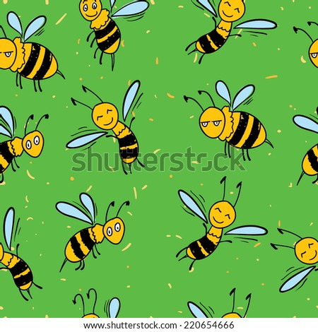 Hand drawn seamless pattern with funny bees
