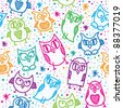 hand drawn seamless pattern with funny owls - stock vector